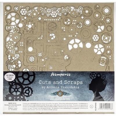 "Stamperia - Cuts & Scraps - Ladies and Gears- 12"" x 12"""