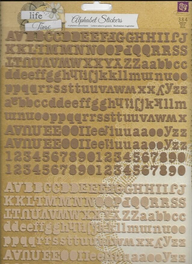 Prima - Life Time Self Adhesive Canvas Alphabets - 384pc