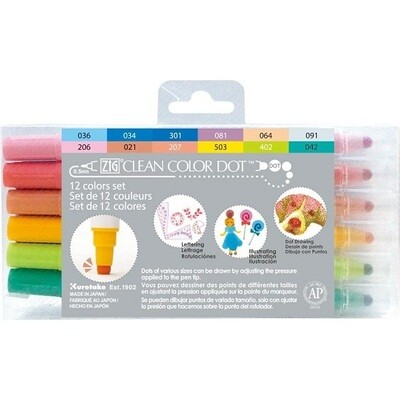 Zig Colour Dot Markers - Dual Tip 12 Pack