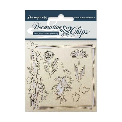 Stamperia - Decorative Chips 9.5 x 9.5 cm - SCB01 Flowers & Butterflies