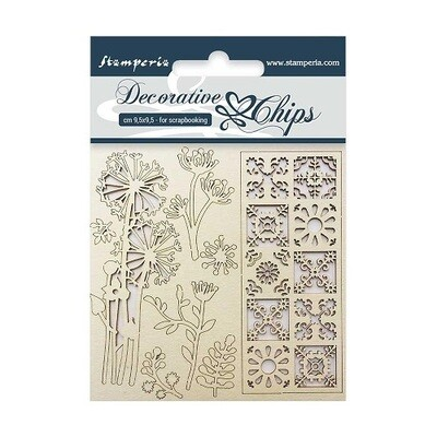 Stamperia - Decorative Chips 9.5 x 9.5 cm - Flowers & Tiles