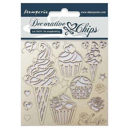 Stamperia - Decorative Chips - Ice Cream - 14 x 14 cm -
