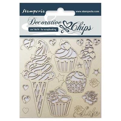 Stamperia - Decorative Chips 14 x 14 cm - Ice Cream