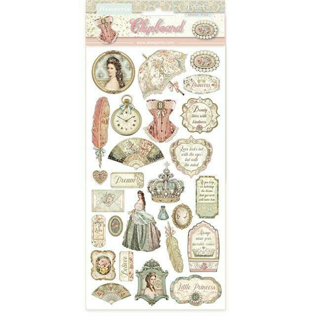 """Stamperia - Princess Collection - Chipboard 6"""" x 12"""" - Self Adhesive - 30pcs"""