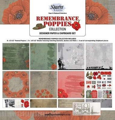 3 Quarter Designs 12 x 12 Collections -Remembrance Poppies