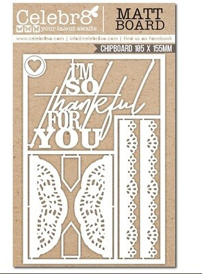Celebr8 - Thankful for You Chipboard
