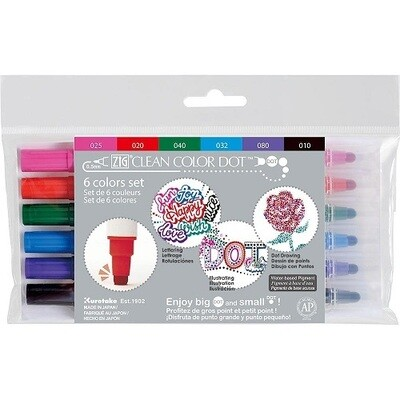 Zig Colour Dot Markers - Dual Tip 6 Pack