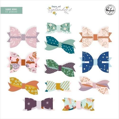 PinkFresh Studios - Days of Splendour Fabric Bows. 12 Bows