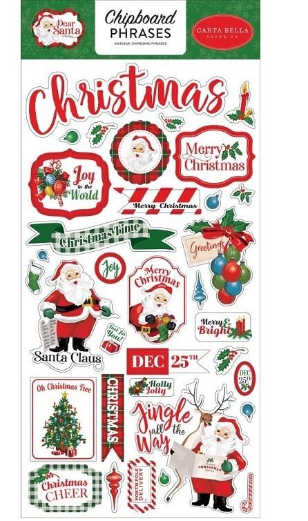 Carta Bella - Dear Santa - Chipboard Phrases