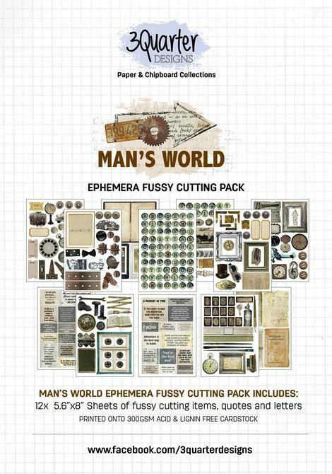 3 Quarter Designs - Ephemera Fussy Cutting Pack - Man's World
