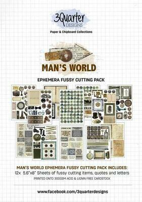 3 Quarter Designs Ephemera - Man's World Fussy Cutting Pack