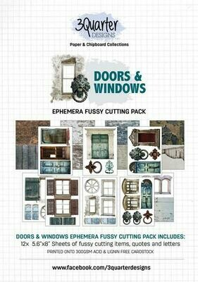 3 Quarter Designs Ephemera - Doors & Windows Fussy Cutting Pack