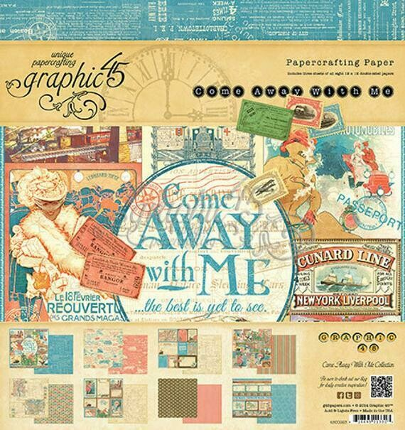 Graphic 45 - Come Away With Me Collection Pack -  12 x 12