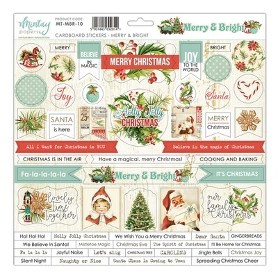 Mintay By Karola  Merry & Bright Collection - Cardboard Stickers 12 x 12 Sheet
