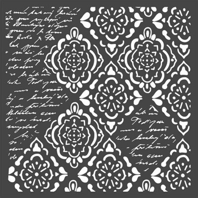 Stamperia Stencil - Wallpaper Rhombus & Writings
