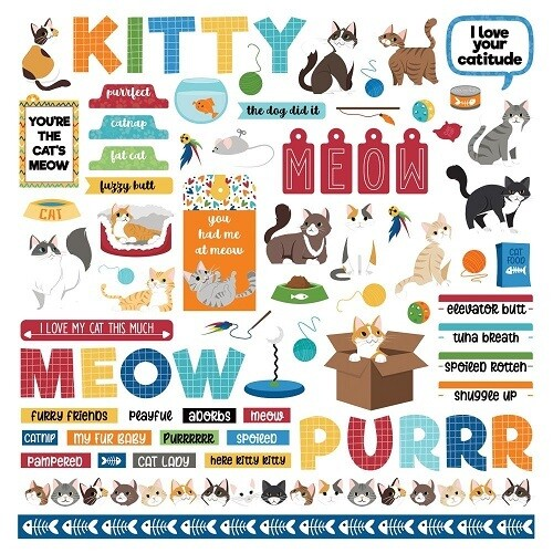 Photoplay - Cat Lover Collection - Element Sticker Sheet 12 x 12