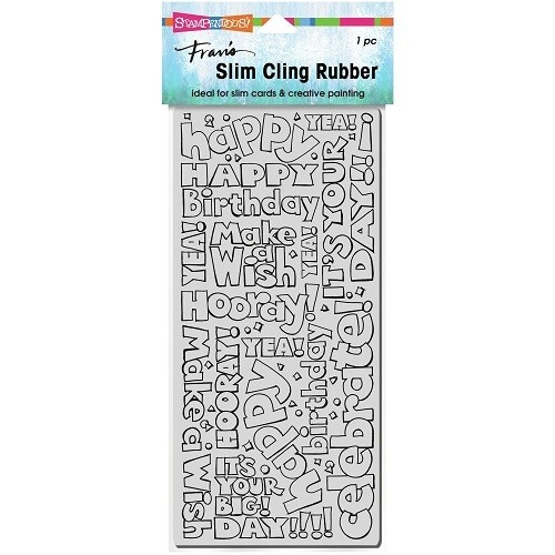 Stampendous - Slim Birthday Words Cling Rubber Stamp- CSL01
