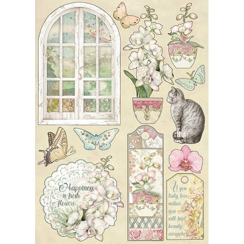 Stamperia A5 Wooden Shapes - Orchids and Cats No: 1