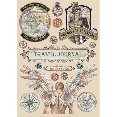 Stamperia A5 Wooden Shapes - Travel Journal - Sir Vagabond Collection