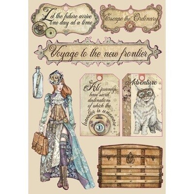 Stamperia A5 Wooden Shapes -Lady Label -   Lady Vagabond Collection