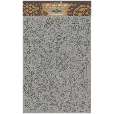 Stamperia Naked Chipboard Set - Gears and Numbers A4 - Sir Vagabond Collection