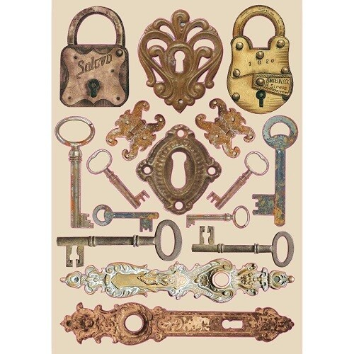 Stamperia A5 Wooden Shapes - Locks & Keys Lady Vagabond Collection