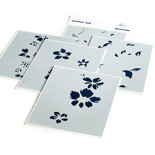PinkFresh Studios - A5 - Seamless Floral Panel - Layered Stencil PFST11 -   5 pieces