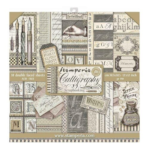 """Stamperia - Calligraphy Collection - 12"""" x 12"""" Papers - 10 Sheets - SBBL79"""