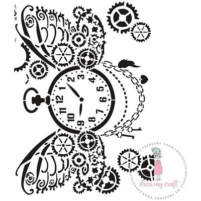 Dress My Craft A4 Steampunk Stencil - DMC 530