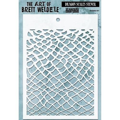 "Brett Weldele - Dragon Scales Stencil 5"" x 7"""