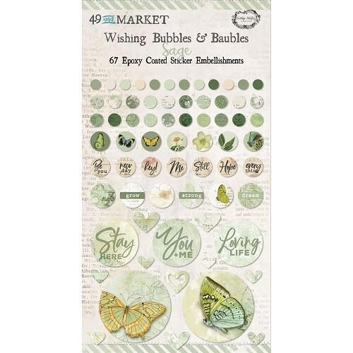 49 & Market - Wishing Bubbles & Baubles - Sage - 67 Pieces