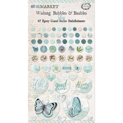 49 & Market - Wishing Bubbles & Baubles - Sky - 67 Pieces