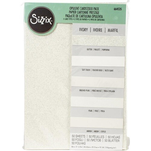 "Sizzix - Surfacez Opulent Cardstock Pack - 50 sheets 8.5"" x 11"" Ivory"