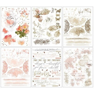 49 & Market - Vintage Artistry Coral / Natural Rub-On Transfers - 6 Sheets