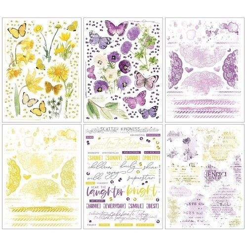 49 & Market - Vintage Artistry Butter /Lilac Rub-On Transfers - 6 Sheets