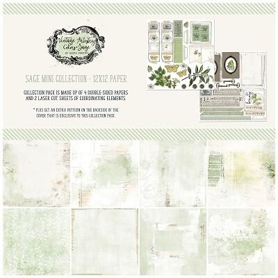 49 & Market - Vintage Artistry Sage  Mini 12 x 12 paper Collection
