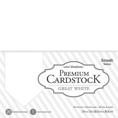 Core'dinations - White Smooth 12 x 12 Cardstock - 20 pack
