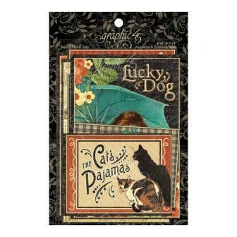Graphic 45 - Raining Cats and Dogs - Ephemera and Journalling Cards - 32 pieces
