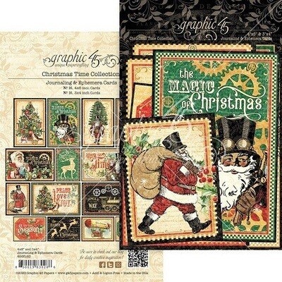 Graphic 45 - Christmas Magic Collection - Ephemera and Journalling Cards - 32 pieces