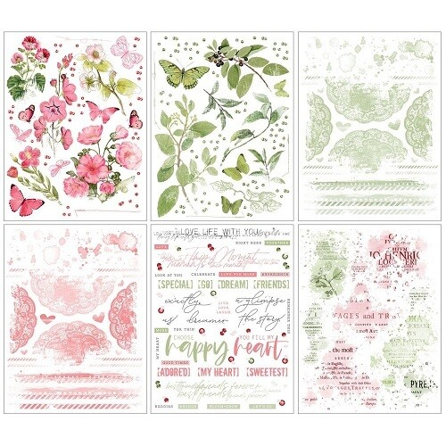 49 & Market - Vintage Artistry Blush / Sage Rub-On Transfers - 6 Sheets