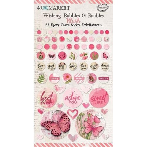 49 & Market - Vintage Artistry - Wishing Bubbles & Baubles - Blush - 67 Pieces - VAC33416