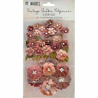 49 & Market Vintage Shades Potpourri Flowers -Cerise - 49 pieces