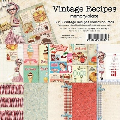 """Memory Place- Vintage Recipes Collection - 6"""" x 6"""" Scrap Pack"""