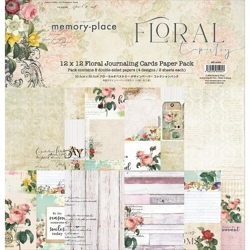 Memory Place - Asuka Studio - Floral Tapestry Journaling Cards - 12 x 12 Paper Pack