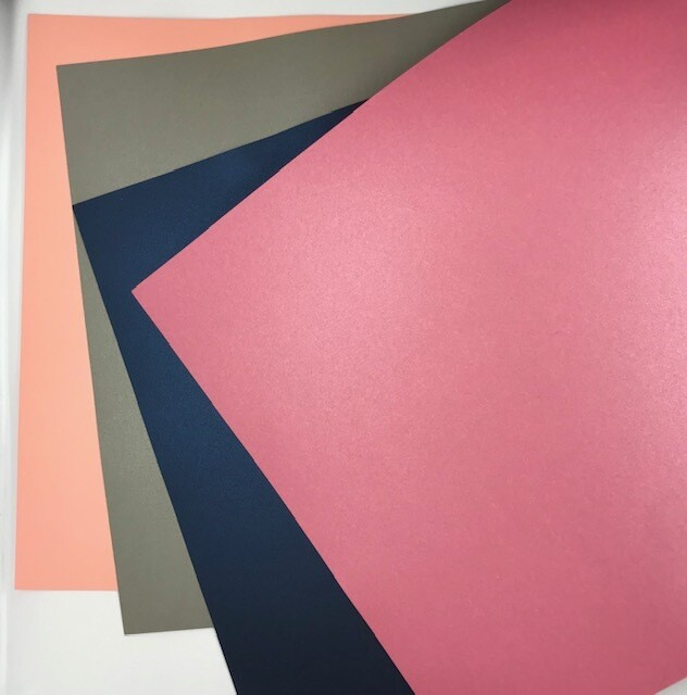 Cardstock - Pearl - Navy, Blush Pearl & Grey - 12 x 12 - 4 Sheets