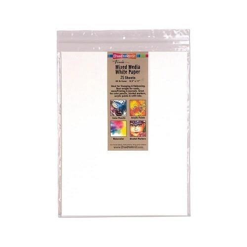 """Stampendous - Mixed Media -White Paper Pack - 8.5"""" x 11"""" - 25 pack"""
