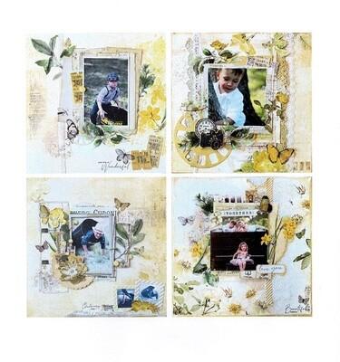 49 & Market - Scrapbook Layout Kit - Vintage Artistry Butter collection - 4 page kit
