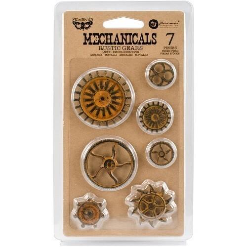 Prima Marketing - Finnabair - Mechanicals Rustic Gears Metal Embellishments - 3 pieces