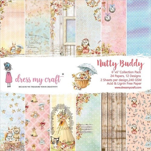 "Dress My Craft - Nutty Buddy - 6"" x 6 "" Scrap Pad"