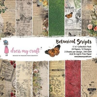 Dress My Craft - Botanical Scripts - 6 x 6 Scrap Pad
